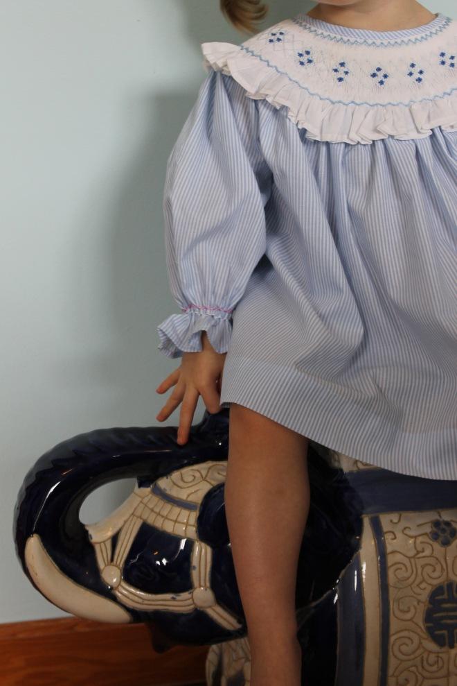 Blue Smocked Dress with Blue Elephant Close